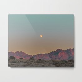 Sunset Moon Ridge // Grainy Red Mountain Range Desert Landscape Photography Yellow Fullmoon Blue Sky Metal Print