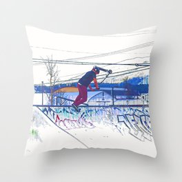 Spinning the Deck - Trick Scooter Sports Art Throw Pillow
