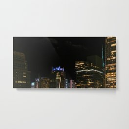 New York City, Manhattan, tall buildings, night (2020-GNY61) Metal Print