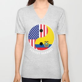 USA Ecuador Ying Yang Heritage for Proud Ecuadorian American, Biracial American Roots, Culture, Unisex V-Neck