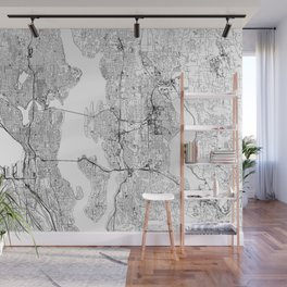 Seattle White Map Wall Mural