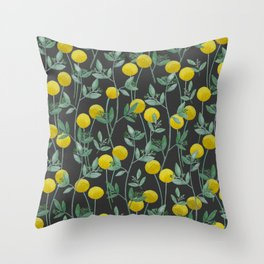 Billy Bob's and Eucalyptus with Charcoal Background Throw Pillow
