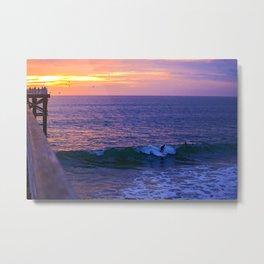 Sunset Surfers Metal Print
