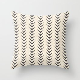 Cocoa Bisque Chevron Line Mid-Century Shapes Throw Pillow