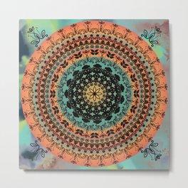 Sunset Desert Mandala Metal Print