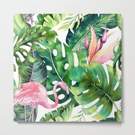 Flamingo Tropical || #pattern #tropical Metal Print