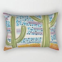 Saguaros and Stippled Sky Rectangular Pillow