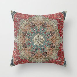 Antique Red Blue Black Persian Carpet Print Throw Pillow