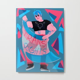 Trans Rights Blue Haired Babe Metal Print