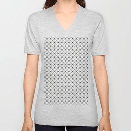Pantone Pewter Thin Line Stripe Grid (Pinstripe) and Polka Dots on White Unisex V-Neck