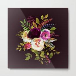 Moody Watercolor Roses on Dark Metal Print