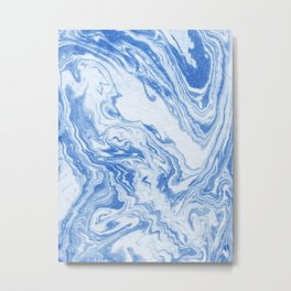 Aoi - indigo blue spilled ink art printmaking swirl abstract original marbled marbling marble color Metal Print