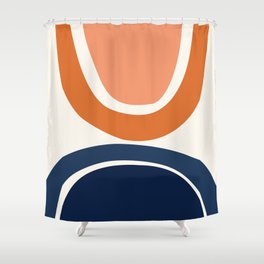 Abstract Shapes 7 in Burnt Orange and Navy Blue Shower Curtain