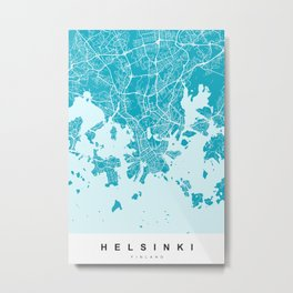 Helsinki Map | Blue & Cyan | More Colors, Review My Collections Metal Print