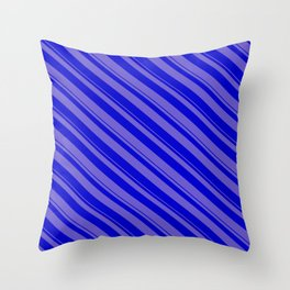 Slate Blue and Blue Colored Stripes/Lines Pattern Throw Pillow