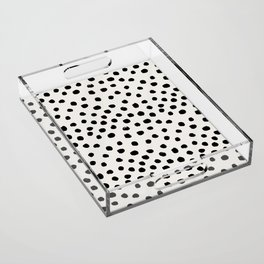 Preppy brushstroke free polka dots black and white spots dots dalmation animal spots design minimal Acrylic Tray