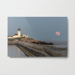 Full Flower Moon at Eastern point lighthouse Metal Print