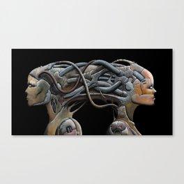 Brain connected cyborgs. External view Canvas Print