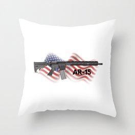 Patriotic AR-15 Semi-automatic Rifle Throw Pillow