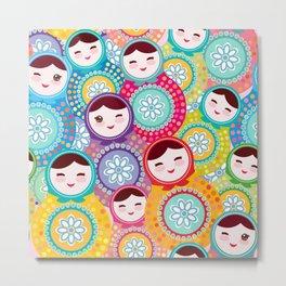 Russian dolls matryoshka, pink blue green colors colorful bright pattern Metal Print