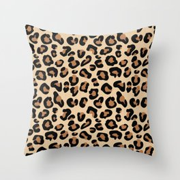 Leopard Print, Black, Brown, Rust and Tan Throw Pillow