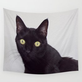 Pretty Kitty, Black Cat With Huge Green Eyes, Halloween Cat Wall Tapestry