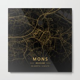 Mons, Belgium - Gold Metal Print