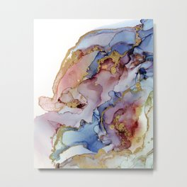 Abstract Ink Flowing Gold Marble Metal Print