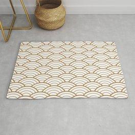 Gold white Art Deco shell pattern Rug