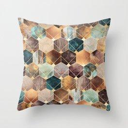 Natural Hexagons And Diamonds Throw Pillow
