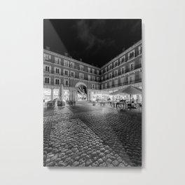Night Time at the Plaza Mayor of Madrid BW Metal Print