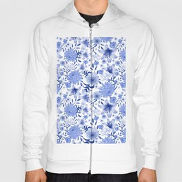 Blue and white intricate floral pattern Hoody