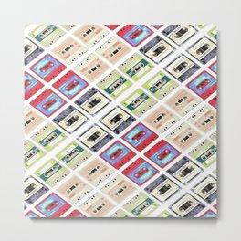 1980s hip hop pop culture colorful pattern cassette tape Metal Print