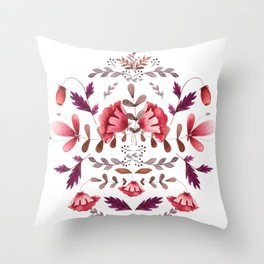 Scandinavian Flower Folk Art Throw Pillow