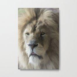 Lion Portrait Watercolour Metal Print