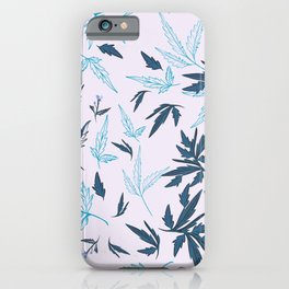 Floral rustic vector pattern with leaves and plants in blue color  iPhone Case