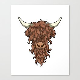 Messy Hair Don't Care Funny Highland Cow Canvas Print