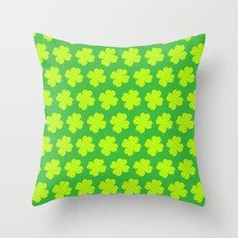 St. Patrick's Day Neon Green Shamrock Pattern Throw Pillow