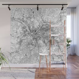Pittsburgh White Map Wall Mural