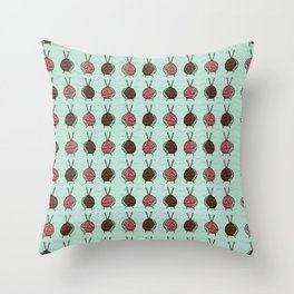 Ball of knitting yarn crafts Throw Pillow