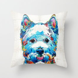 Colorful West Highland Terrier Dog Art Sharon Cummings Throw Pillow