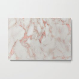 Marble - Metallic Blush Pink and White Marble by Nature Magick Metal Print