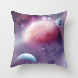 Pink Space Dream Throw Pillow