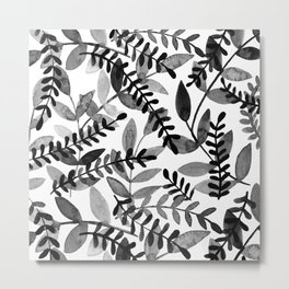 Watercolor branches - black and white Metal Print