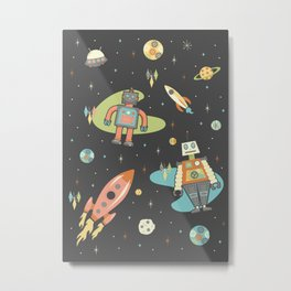 Robots in Space Metal Print