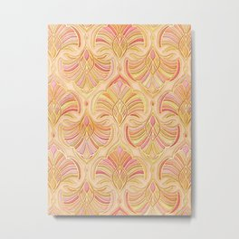 Rose Gold and Apricot Gilded Art Deco Metal Print