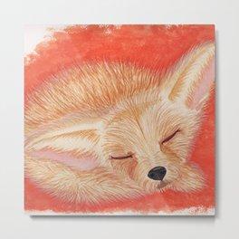 Sleeping desert fox/fennec watercolor Metal Print