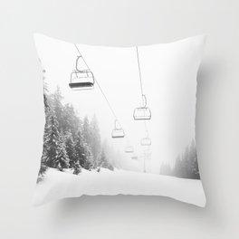 Snow Lift // Ski Chair Lift Colorado Mountains Black and White Snowboarding Vibes Photography Art Print Throw Pillow