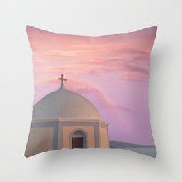 Santorini pink sunset, perfect day, famous Greek island, blush pink Throw Pillow