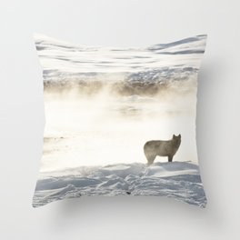 Yellowstone National Park - Wolf and Hot Spring Throw Pillow